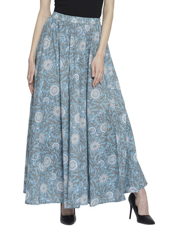Enchanted Drapes Women's Blue Printed Cotton Skirt