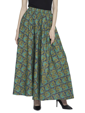 Enchanted Drapes Women's Blue Green Printed Cotton Skirt