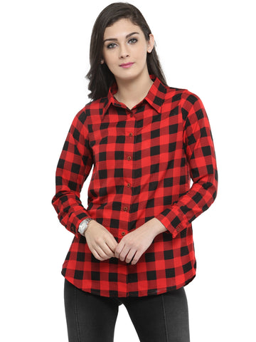 Enchanted Drapes Women's Red Cheque Crepe Shirt