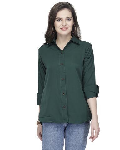 Enchanted Drapes Women's Dark Green Women's Crepe Shirt