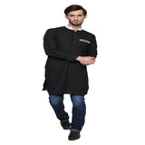 Enchanted Drapes Black Plain Long Men's Cotton Kurta