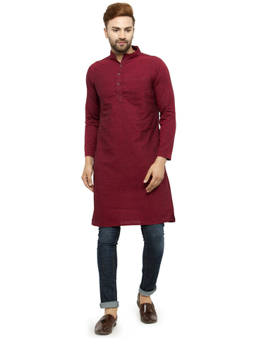 Enchanted Drapes Maroon Solid Long Men's Cotton Kurta