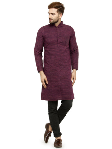 Enchanted Drapes Purple Solid Long Men's Cotton Kurta
