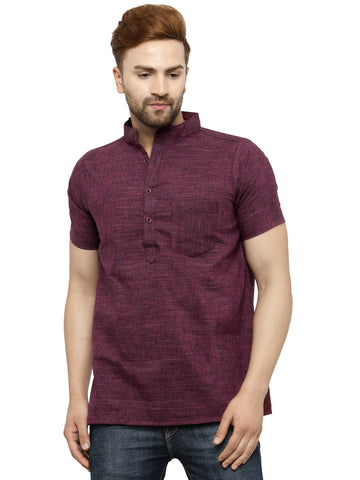 Enchanted Drapes Purple Solid Short Men's Cotton Kurti