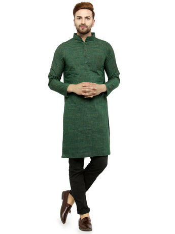 Enchanted Drapes Bottle Green Solid Long Men's Cotton Kurta