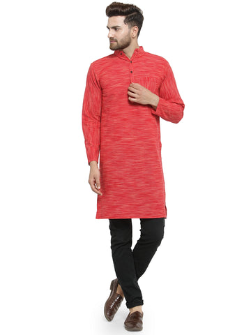 Enchanted Drapes Red Solid Long Men's Cotton Kurta