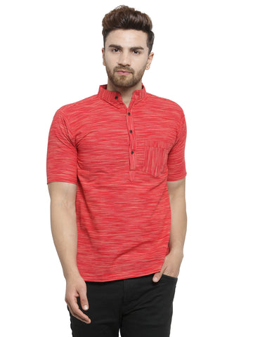 Enchanted Drapes Red Solid Short Men's Cotton Kurta