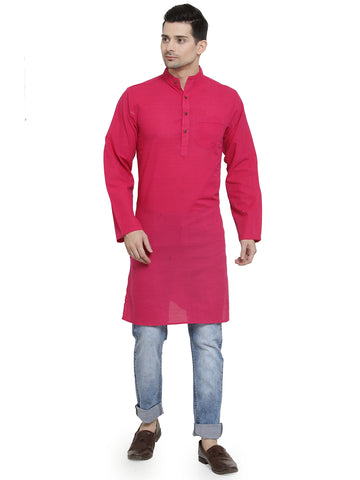 Enchanted Drapes Bright Pink Solid Long Men's Cotton Kurta