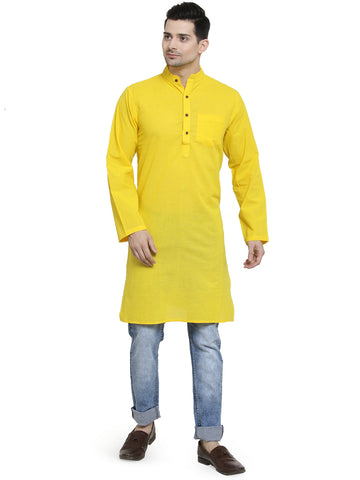 Enchanted Drapes Bright Yellow Solid Long Men's Cotton Kurta