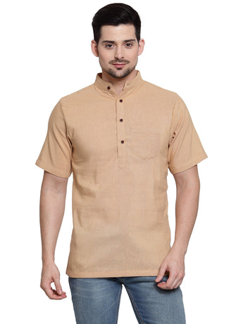 Enchanted Drapes Beige Solod Short Men's Cotton Kurta