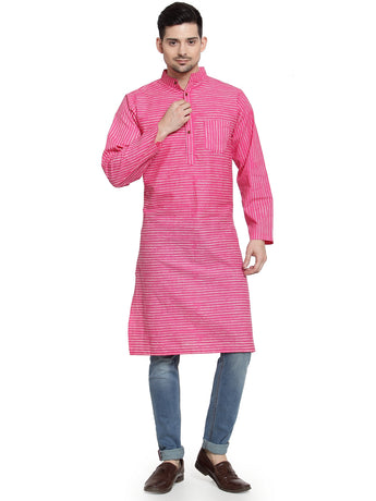 Enchanted Drapes Pink Stripes Long Men's Cotton Kurta