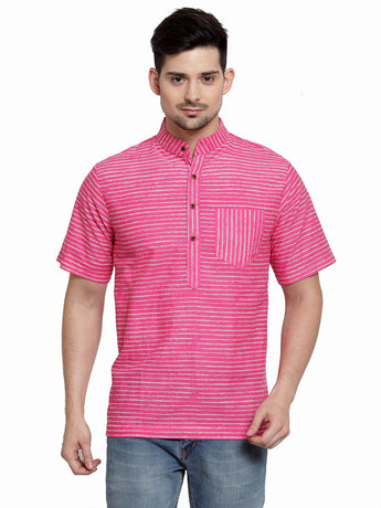 Enchanted DrapesPink Stripes Short Men's Cotton Kurta