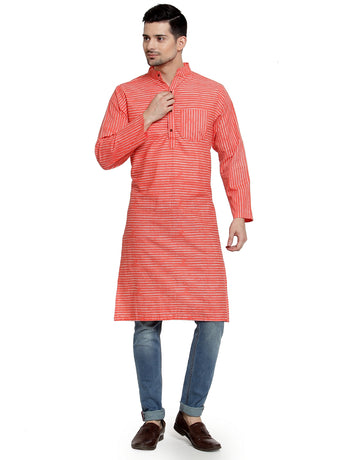 Enchanted Drapes Orange Stripes Long Men's Cotton Kurta