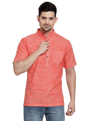 Enchanted Drapes Orange Stripes Short Men's Cotton Kurta