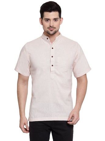 Enchanted Drapes Cream Solid Short Men's Cotton Kurta