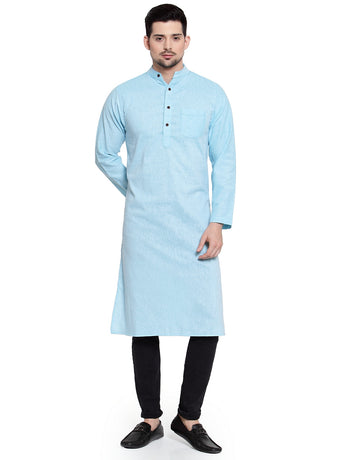 Enchanted Drapes Sky Blue Solid Long Men's Cotton Kurta