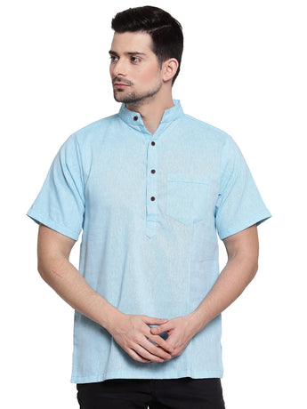 Enchanted Drapes Sky Blue Solid Short Men's Cotton Kurta