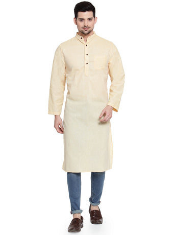 Enchanted Drapes Light Yellow Solid Long Men's Cotton Kurta