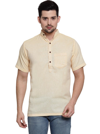 Enchanted Drapes Light Yellow Solid Short Men's Cotton Kurta