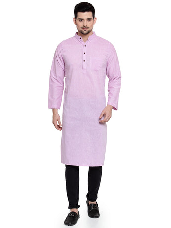 Enchanted Drapes Mauve Solid Long Men's Cotton Kurta