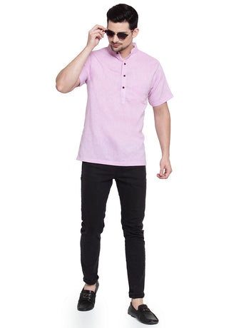 Enchanted Drapes Mauve Solid Short Men's Cotton Kurta
