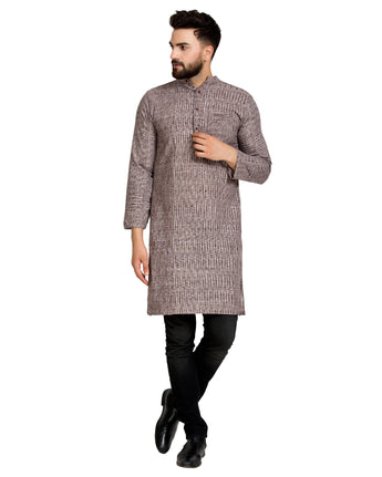 Enchanted Drapes Violet Solid Long Men's Cotton Kurta