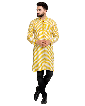 Enchanted Drapes Yellow Stripes Long Men's Cotton Kurta