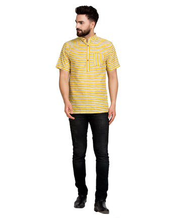 Enchanted Drapes Yellow Stripes Short Men's Cotton Kurta