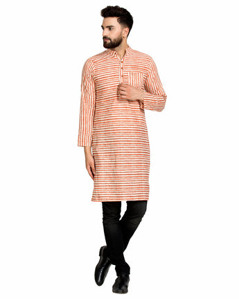 Enchanted Drapes Rust Stripes Long Men's Cotton Kurta
