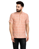 Enchanted Drapes Rust Stripes Short Men's Cotton Kurta