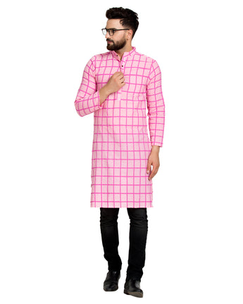 Enchanted Drapes Baby Pink Cheque Long Men's Cotton Kurta