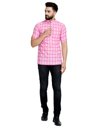 Enchanted Drapes Baby Pink Cheque Short Men's Cotton Kurta