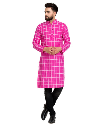 Enchanted Drapes Dark Pink Cheque Long Men's Coton Kurta