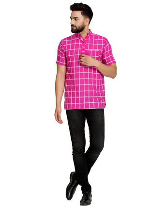 Enchanted Drapes Dark Pink Cheque Short Men's Cotton Kurta