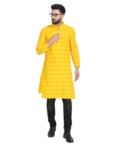 Enchanted Drapes Yellow Cheque Long Men's Cotton Kurta