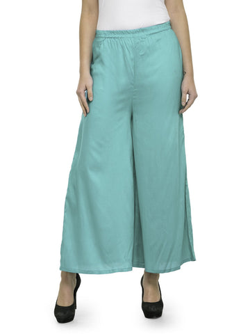 Enchanted Drapes Turquoise Solid Rayon Women's Palazzo