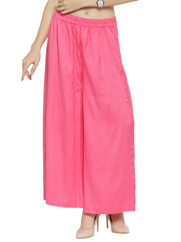 Enchanted Drapes Baby Pink Solid Rayon Women's Palazzo
