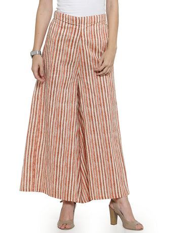 Enchanted Drapes Rust Stripes Textured Women's Cotton Palazzo