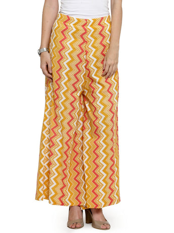 Enchanted Drapes Orange ZigZag Textured Women's Cotton Palazzo