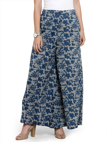 Enchanted Drapes Blue Textured Women's Cotton Palazzo