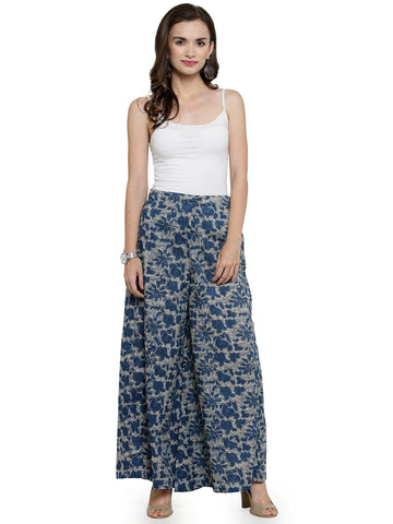 Enchanted Drapes Women's Blue Floral Printed Cotton Palazzo