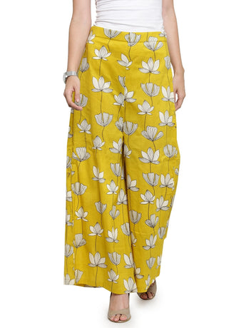 Enchanted Drapes Yellow Lotus Textured Women's Cotton Palazzo
