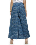 Enchanted Drapes Women's Blue Printed Cotton Palazzo