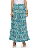 Enchanted Drapes Women's Blue Hexagon Printed Cotton Palazzo