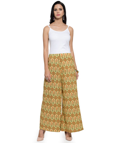 Enchanted Drapes Women's Yellow Hexagon Printed Cotton Palazzo