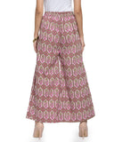 Enchanted Drapes Pink Textured Women's Cotton Palazzo