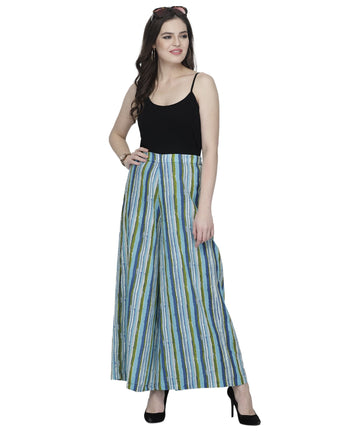 Enchanted Drapes Blue Stripes Women's Cotton Palazzo