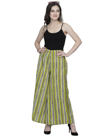 Enchanted Drapes Women's Green Stripes Cotton Palazzo