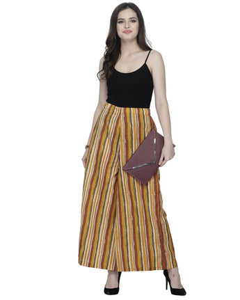 Enchanted Drapes Yellow Stripes Women's Cotton Palazzo