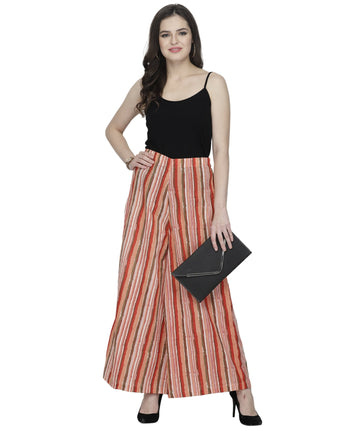 Enchanted Drapes Red Stripes Women's Cotton Palazzo